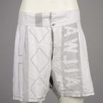Men's underpants, 1940s, made from tram destination roll fabric