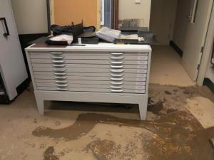 Mud through the collection room at Hinkler Hall.