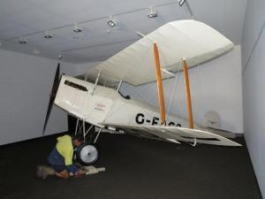"Hinkler's ""Avro Baby"" in exhibition space."