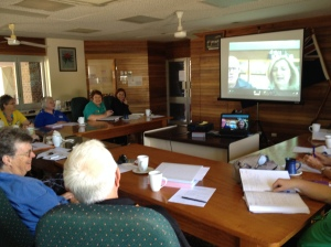 Tony Coonen and Janelle Insley from Cobb and Co Museum present to the Tablelands Heritage Network via Skype at Malanda, Far North Queensland. Photo: Gwyneth Nevard.