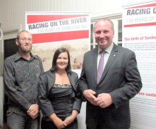 Museum Development Officer Josh Tarrant,  Blackall Tambo Regional Council  Deputy Mayor Cr. Richelle Johnson and The Hon. Federal Minister for Agriculture Barnaby Joyce at the opening of Racing on the River.