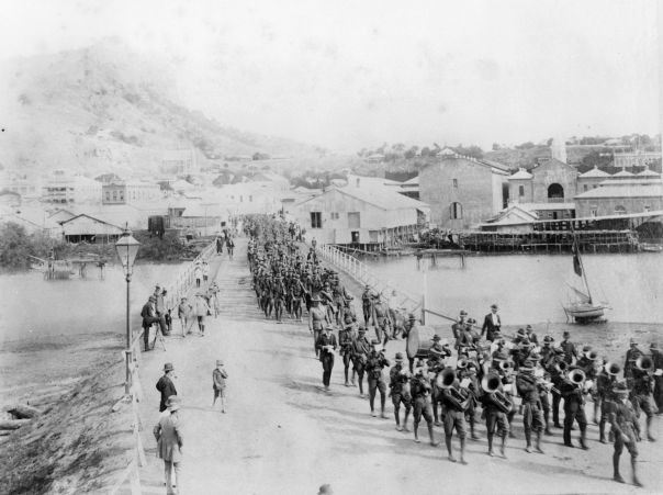 First troops leaving Townsville in August 1914. State Library of Queensland, Negative No: 25536