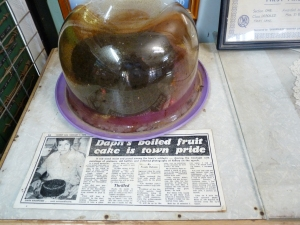 Daph Bashford's 1976 rich boiled fruit cake at the Barcaldine and District Folk Museum.