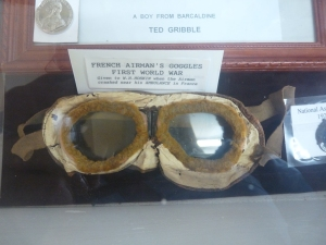 French airman's goggles, brought back to Barcaldine by a local soldier.