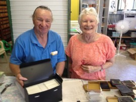Helen Kindt and David Foster with the first box of rehoused glass negatives from the Portraits of the North project.