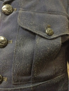 Wool uniform displaying active mould