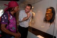 Mat Trinca with artist Andrew Passi. Photo: George Serras, National Museum of Australia.