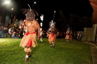 Aibai Sagulau Buai dance team performance from Badu Island. Photo: George Serras, National Museum of Australia.