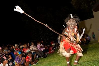 Aibai Sagulau Buai dance team performance from Badu Island. Photo: George Serras, National Museum of Australia.