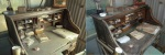 Bernie Langenbaker's desk before and after cleaning.