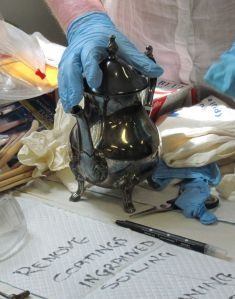 Metals workshop - Tarnished silver-plated tea pot. (Image courtesy of Karen Barrett)