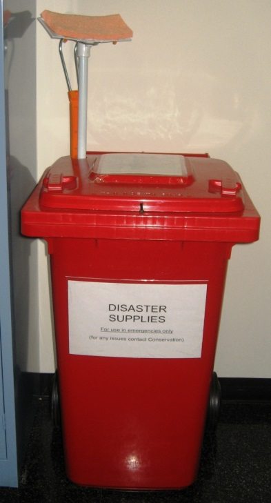 Example of disaster supply bin - cable tie shut and cut when needed.  This will mean that supplies aren't used for general cleaning purposes