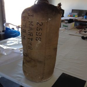 Martyr kit bag before conservation.