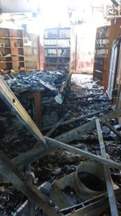 The reading room following the fire