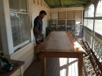 Reading room table being sealed