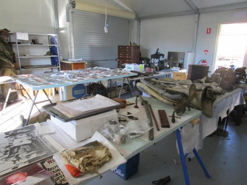 Salvaged objects awaiting attention the week following the fire