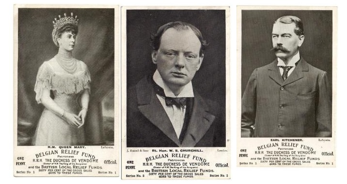 "These three cards are from the second series of ""authorised postcards"" by Joseph Clarkson. Again, like the first series, they are thought to have been twelve in number and Belgian and British relief funds benefited from sixty per cent of the gross sale of them.  See https://www.worldwar1postcards.com/fund-raising.php"