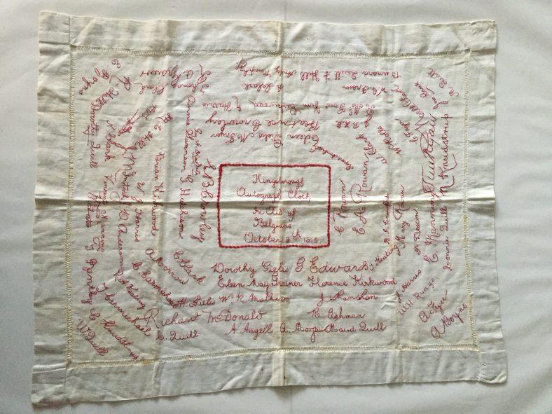 Kingsborough Autograph Cloth, 1915