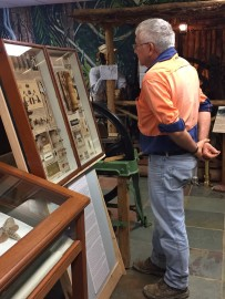 Jeff Smith from Meringa Research Station enjoying the display of the Jarvis cases. Image: Jo Wills