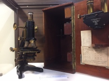 James Buzzacott's microscope which was kindly loaned to the exhibition by the Australian Sugar Industry Museum in Mourilyan. Image: Jo Wills.