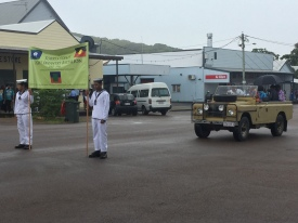 Flag bearers at the beginning of the parade up Douglas Street on Thursday Island