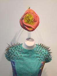Close up of Grace's use of metal spikes and weaving on the hat. Image: Suzanne Gibson.