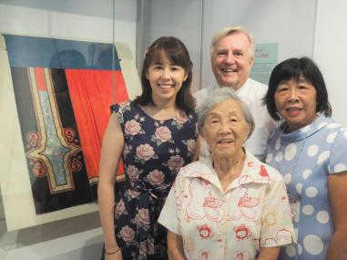 Jenni Campbell (right) with her mother, daughter and husband at the opening. Image: Jackie Tam.