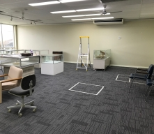 To help plan the new layout, we measured and taped off our display areas with masking tape on the floor