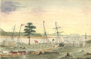 A watercolour of the original Port of Mackay by Charles Rawson, c. 1875. State Library of Queensland, raw00150
