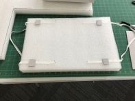 Foam was cut to fit the box and handles added to allow easy removal.