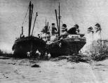 The steamers 'Tay' and 'Apa' grounded by the 1918 cyclone. Image courtesy of Mackay Museum