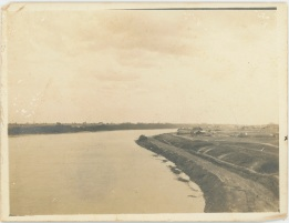 Photograph of the Saskatchewan River sent to Kilburnie from the Daley family. The 'x' on the edge of the photograph marks the location of their house. Source: Kilburnie Homestead Collection