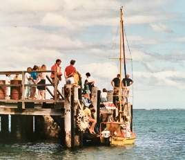 The tiny 'Acrohc Australis' tied up at Lord Howe Island's jetty. Source: http://acrohc.com