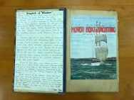Front page of 'Wanderer's' scrap book, showing the cover feature of the yacht in the October 1930 edition of The Australian Motor Boat & Yachting Monthly