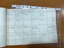 Visiting yacht register with the entry for 'Acrohc Australis' in 1987