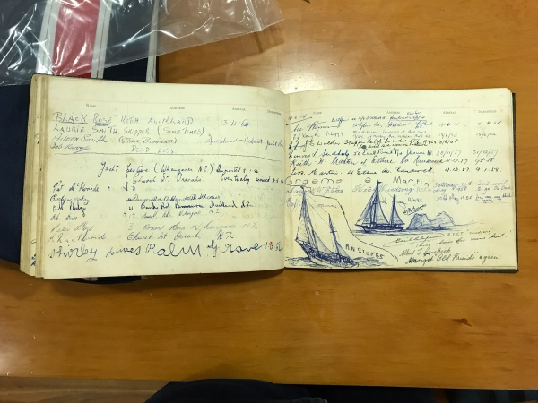 A 1954 entry from the Palm Grove Lodge visitor's book, illustrated by crew of the ketch 'Windsong'.
